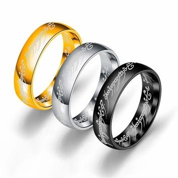 316L Stainless Steel The One Ring of Power Lord Ring For Lovers Women Men Fashion Jewelry Tungsten Pwer Ring Present Gift