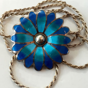 Vintage Jewelry Necklace / TAXCO Mexico A. MAYA 980 Sterling Silver ENAMEL / Mexican Flower Enamel Brooch Pendant / Antique Estate Jewelry