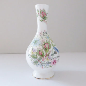 Aynsley vintage 1980's vase, Wild Tudor, English garden, Floral vase, Flower vase, Mother's day gift