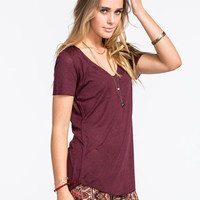 Full Tilt Essential Womens Tried & True Tee Wine  In Sizes