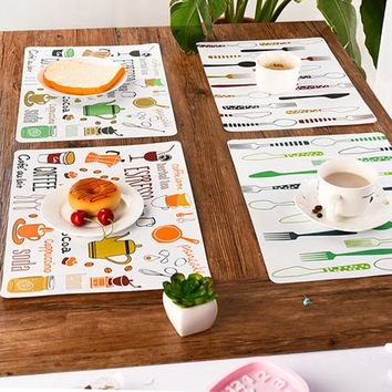 2 Pcs Placemat Fashion Heat Shield Dining Table Mat Disc Pads Bowl Pad Coasters Waterproof Table Cloth Pad Slip-resistant Pad WL
