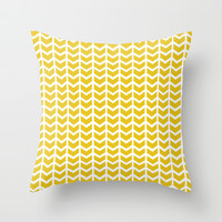 mustard chevron Throw Pillow by Jenny A Photography