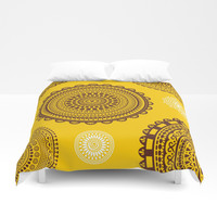 Yellow! Boho style pattern in bright warm tones. Duvet Cover by Siret