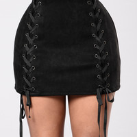 Down For The Hype Suede Skirt - Black