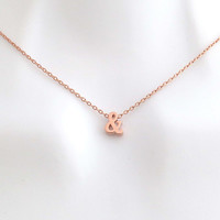 Rose gold, Ampersand, Necklace, Lovers, Best friends, Mom, Sister, Gift, Accessory, Jewelry