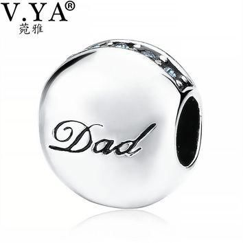 "V.YA ""Dad"" Beads fit for Pandora Bangles Bracelets Father's Jewelry Loose Beads for Je"