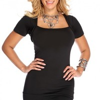 Black Short Sleeve Sexy Party Dress
