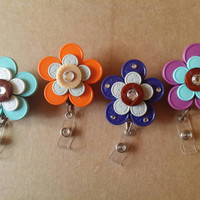 Teal, Orange, Pink or Blue Recycled Medication Vial Cap Id Badge with Rhinestones on Retractable Reel and Belt Clip
