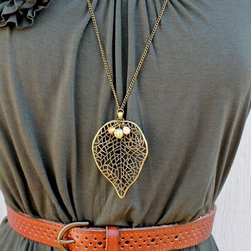 Long Bronze Leaf Necklace by labellemoon on Etsy