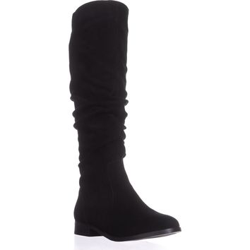 Steve Madden Beacon Tall Slouch Boots, Black Suede, 7 US