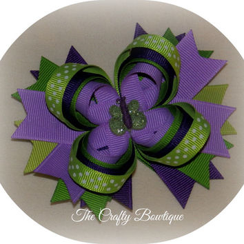 Butterfly Layered Bow with Spikes, Purple & Green Hair Bow, Headband Bow, Big Girls Bow, Baby Toddler Hair Bow, Spiked Hair Bow