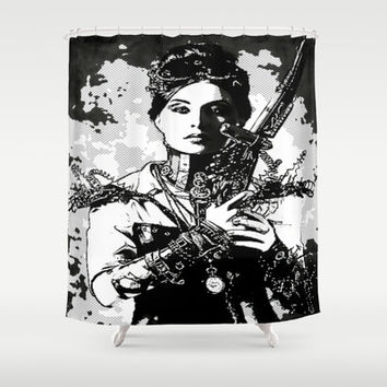 Steam punk art, black and white, digital drawings comic style  Shower Curtain by Healinglove