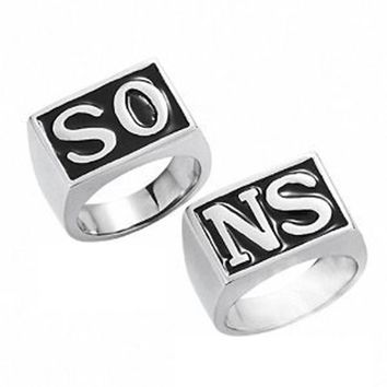 1 Pair Fashion Style Punk Silver Plated Sons Of Anarchy Rings Jewelry For Men