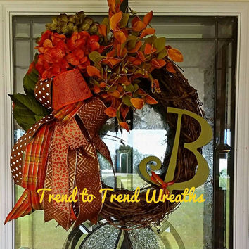 Grapevine Fall Wreath,  Fall Wreath, Autumn Wreath, Initial Wreath, Fall Decor, Thanksgiving Wreath, Floral Wreath, Front Door Wreath