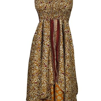Mogul Womens Summer Halter Dress Recycled Silk Sari Two Layer Queen Sundress XS: Amazon.ca: Clothing & Accessories
