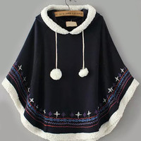Navy Hooded Embroidered Cape Coat