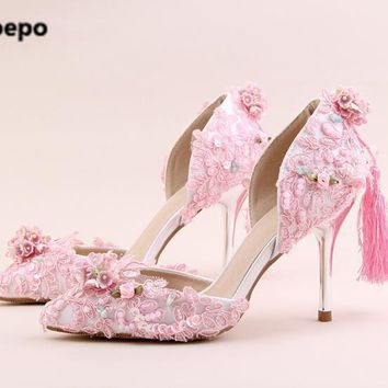 Apoepo brand mary janes pink shoes women Handmade flower pumps bling bling bride wedding shoes high heels pumps ladies shoes