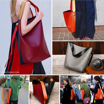 New Classics Color Blocking Hobo Women Tote Leather Handbag Shoulder Bag