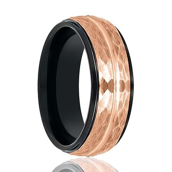 Aydins Black & Rose Gold Grooved Tungsten Hammered Center Wedding Ring for Men 8mm Stepped Edge Tungsten Carbide Wedding Band