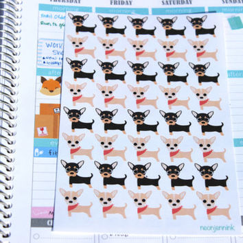 Set of 40 Chihuahua Stickers, Perfect for Planners and Scrapbooks!