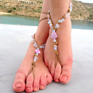 Barefoot sandals. beaded sandals,pearls boho barefoot sandles, crochet barefoot sandals, , yoga, anklet hippie shoes