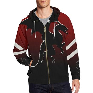Men's Red Black Dragon Full Zip Hoodie