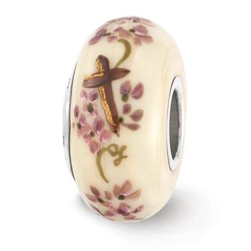 Fenton Cream Hand Painted Cross & Floral Glass & Sterling Silver Charm