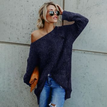 New Arrivals Women Long Sleeve Sexy Off Shoulder Sweater women sweaters and pullovers mujer invierno Faux Fur Blouse Top Dress