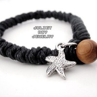 Starfish charm black hemp woven bracelet