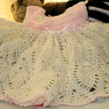 Dress Baby dress little girls dress lacy party dress crochetyknitsnbits hand made baby girl clothes cream peach shower gift 3 to 9 months