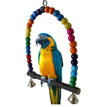 Colorful Pet Bird Toys Parrot Parakeet Cockatiel Finch Lovebird Budgie Cage Swing Toy With Bell Chew Toys Pets Birds Accessories