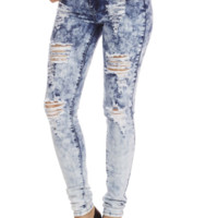 Acid Wash High Waist Distressed Skinny Jeans | Danice Stores