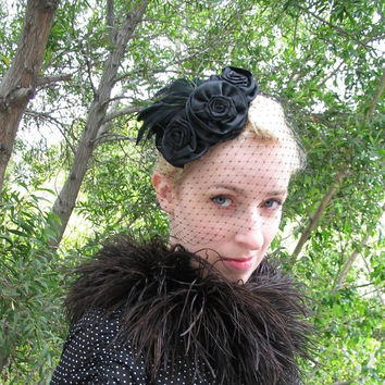 Women's Hat - Black Birdcage Veil - Black Rose Headpiece - Feather Fascinator - Victorian Mourning Veil -  Cocktail Hat with Veil