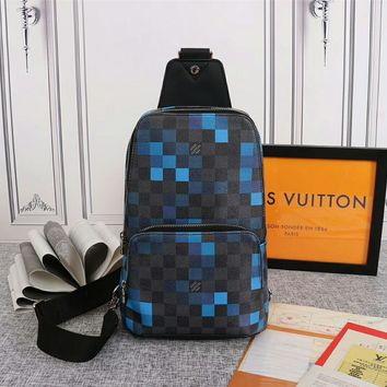Louis Vuitton LV Black/Blue Women Men Leather Shoulder Bag