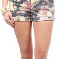 navy and pink floral shorts - debshops.com