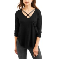 No Boundaries Juniors' Criss-Cross Neck Long Sleeve Pocket Tee - Walmart.com