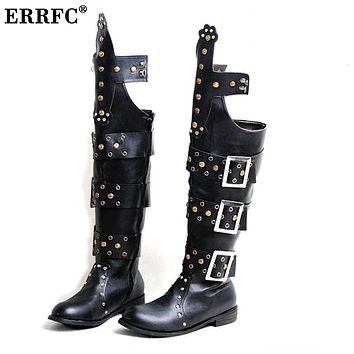 ERRFC Japan Punk Cowboy Stage Boots Men Round Toe Rivets Buckle Long Motorcycle Boots Men Nightclub Show Shoes Riding Boot