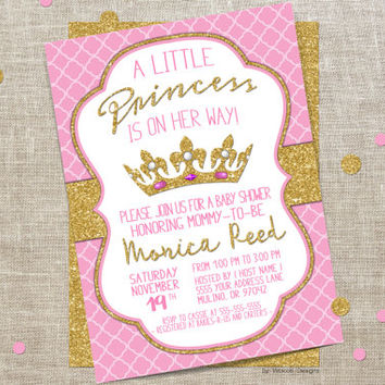 Royal baby shower invitation, Pink, Royal Shower invitation, Baby shower invitation girl, Royal baby shower, Princess baby shower invitation