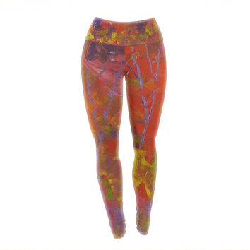 "Jeff Ferst ""Forest Kaleidescope"" Purple Red Yoga Leggings"