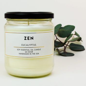 Zen Eucalyptus Scented Soy Jar Candles