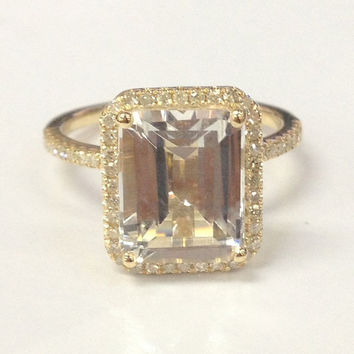 8x10mm White Topaz Engagement Ring 14K Yellow Gold!Diamond Wedding Bridal Ring,Emerald Cut VS Natural Gemstone,Custom Design Matching Band