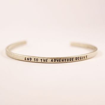 """and so the adventure begins"" Skinny Cuff Bracelet"