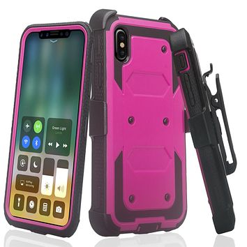 Apple iPhone XR Case, Apple A1984 Case,  Triple Protection 3-1 w/ Built in Screen Protector Heavy Duty Holster Shell Combo Case - Purple