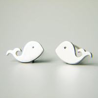 Whale Post Earrings Matte Silver Simple Dainty Everyday Modern Stud Children Earrings