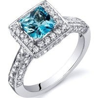 Swiss Blue Topaz Princess Halo Ring Sterling Silver Rhodium Nickel Finish 1.00 Carats Sizes 5 to 9