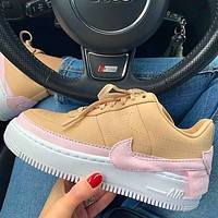 Nike Air Force 1 AF1 JESTER Transformed Crooked Sneakers Flat Shoes Khaki+Pink hook