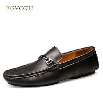 Men Loafers Genuine Leather Mens Leisure Flat Spring Formal Casual Dress Moccasin xgvokh brand Men's Shoes Driving Casual Boat