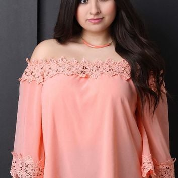 Floral Crochet Trim Chiffon Off-The-Shoulder Peasant Top