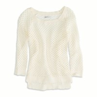 AEO Factory Women's Open Stitch Raglan Sweater