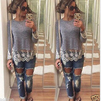 Long Sleeve Women's Fashion Lace Patchwork Tops T-shirts [6331543684]